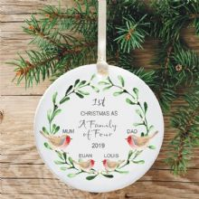 1st Christmas as a Family of Four Ceramic Xmas Tree Decoration - Robins and Mistletoe Design